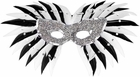 Black & White Feather Silver Sequin Eye Mask