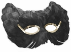 Black Cat Feather Eye Mask