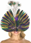 Mardi Gras Feather Peacock Eye Mask