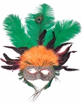 Orange & Green Feather Eye Mask