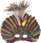 Peacock Mardi Gras Feather Eye Mask