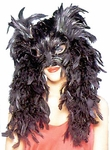 Wicked Feather Mask w/Boa Trim