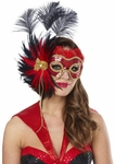 Women's Senorita Sequin Feather Mask