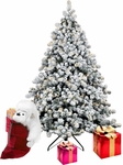 Prelit White Flocked Grand Noble Fir Artificial Christmas Tree