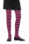 Child's Black & Pink Striped Tights