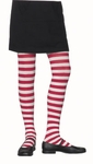 Child's White & Red Striped Tights