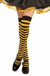 Girl's Black & Yellow Stripped Over The Knee Stockings