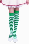 Girl's Over The Knee Green & White Striped Leggings