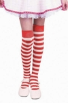 Girl's Over The Knee Red & White Striped Leggings