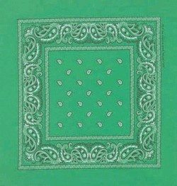 Double Sided Kelly Green Paisley Bandanas