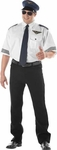 Adult Plus Size Airline Pilot Shirt And Hat Costume