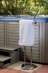 Spa and Hot Tub Towel Caddy - Chrome and Wood