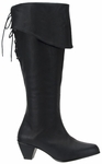 Women's Black Leather Pirate Boots