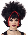 Chunky Black & Red Gothic Streaked Wig
