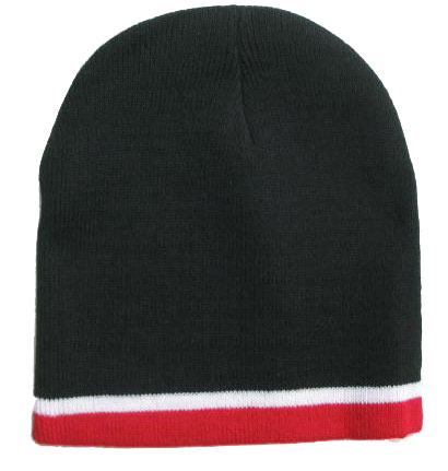 Black Beanie W/ White & Red Trim