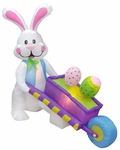 4' Long Inflatable Easter Bunny & Wheelbarrow