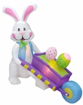 6' Long Inflatable Easter Rabbit Pushing Wheelbarrow