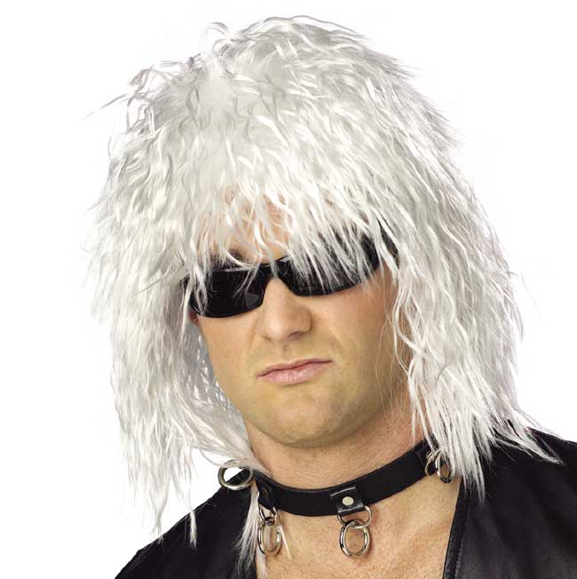 80's White Rock Star Wig