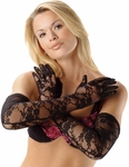 Black Opera Length Stretch Lace Gloves