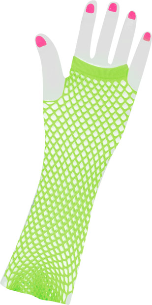 Woman's Long 80s Style Green Neon Fishnet Gloves