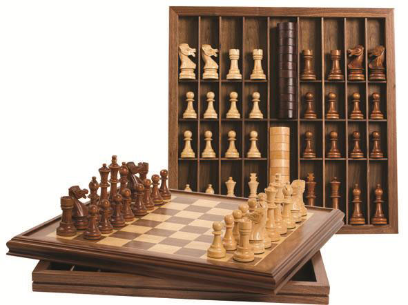 22 inch Deluxe Walnut Chess and Checker Set