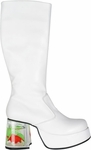 Women's White Gold Fish Tank Go Go Boots