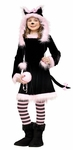 Girl's  Black and Pink Kitty Hood Costume