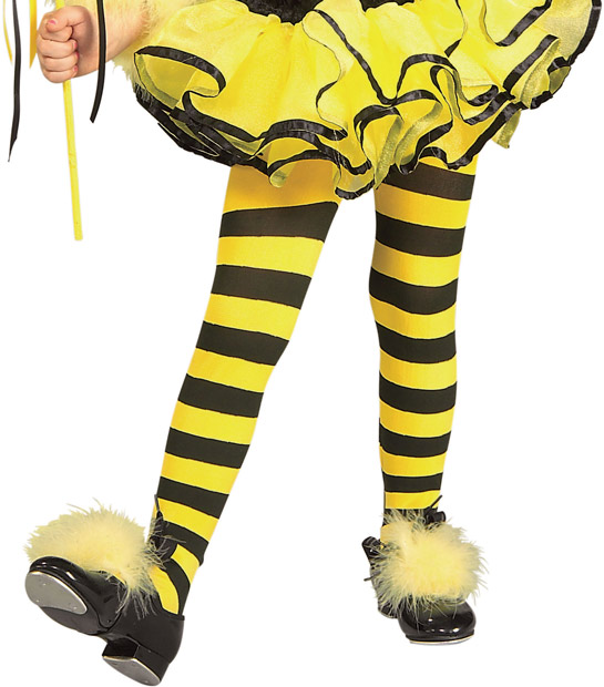 Child's Yellow & Black Striped  Costume Tights