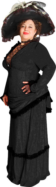 Plus Size Black Victorian Era Theater Costume Dress