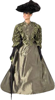 Downton Olive Dress Victorian Era Costume