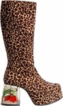 Women's Cheetah Gold Fish Tank Go Go Boots