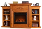 Glazed Pine Fredricksburg Electric Fireplace w/ Bookcases
