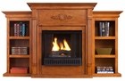 Glazed Pine Fredricksburg Gel Fireplace w/ Bookcases