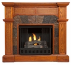 Mission Oak Cypress Gel Fireplace