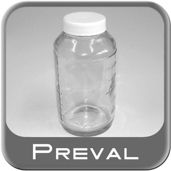 Preval Spray Gun Glass Jar For use with Preval Spray Gun Includes one 6 oz. Clear Glass Jar w/ lid