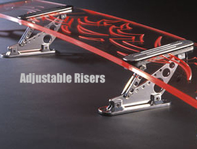 "All Sales Lighted Rear Spoiler 4"" Tall, Adjustable Lined Design w/Slant Style Side Wings"