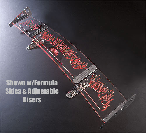 "All Sales Lighted Rear Spoiler 6"" Tall, Adjustable Flamed Design w/Slant Style Side Wings"