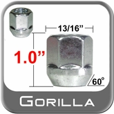 "Gorilla Open End Lug Nuts Acorn Bulge Seat, Zinc Plated 13/16"" Hex Head 9/16"" x 18 Thread"