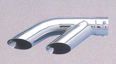 "Superior Chrome Exhaust Tip Chrome Plated Steel Dual Tip, Slant Cut Outlet fits up to 2-1/4"" diameter, 12"" Long"