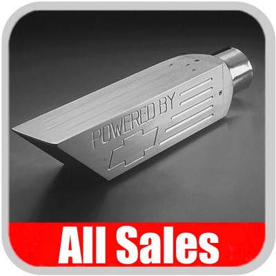 All Sales Billet Aluminum Exhaust Tip Brushed Aluminum Powered By, w/Bow Tie Logo