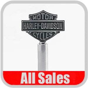 "All Sales Car Antenna / Car Radio Antenna Polished Stainless, 9"" w/Harley Davidson Logo"