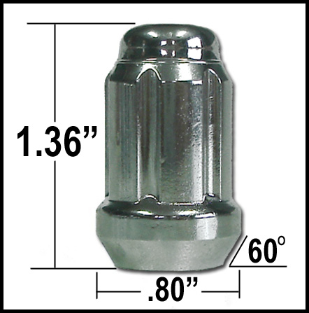 "Gorilla Small Diameter Lug Nut & Lock Set Acorn Bulge Tapered Seat, Chrome Wheel Locks w/ Lug Nuts 1/2"" x 20 Thread"