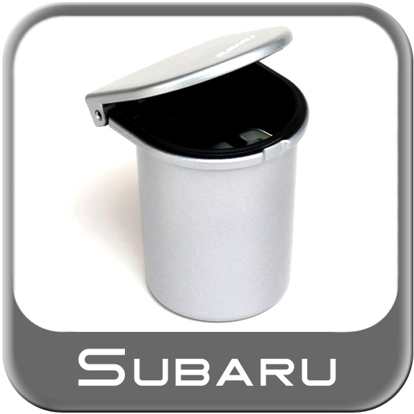 Genuine Subaru Car Ashtray / Change Cup Black Plastic Cup w/ Lid Aluminum Finish Look