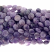 Amethyst Quartz 12mm Coin Beads 16 inch Strand