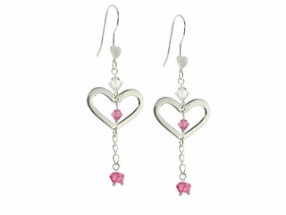 Valentine Heart and Flower Earrings