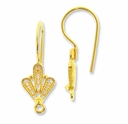 Gold Vermeil Filigree Fan Earwire (1PR)
