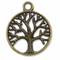 Antiqued Brass Tree of Life in Circle Charm (10PK)
