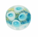 13mm Aqua Blue/Gold Foil Round Lampwork Glass Beads (5PK)