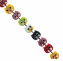 11mm Kitty Face Multi-Colored Lampwork Beads (6 PK)