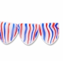 Czech Glass Red, White, Blue 9x8mm Flag Bead (12PK)
